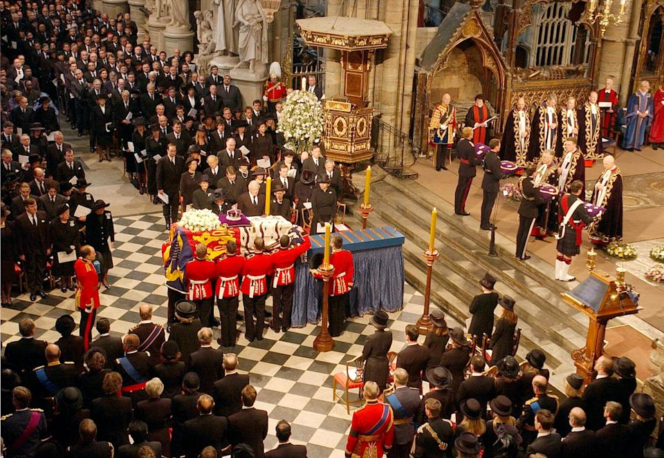 The coffin of Queen Elizabeth the Queen Mother is placed on catafalque at Westminster Abbey. Following the funeral service the Queen Mother's coffin will be taken to St George's Chapel in Windsor, where she will be laid to rest next to her husband, King George VI.