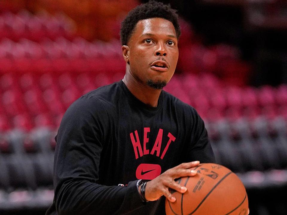 Kyle Lowry shoots the ball in warmups in 2021.