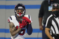 Houston Texans wide receiver Will Fuller catches a 34-yard pass for a touchdown during the second half of an NFL football game against the Detroit Lions, Thursday, Nov. 26, 2020, in Detroit. (AP Photo/Paul Sancya)