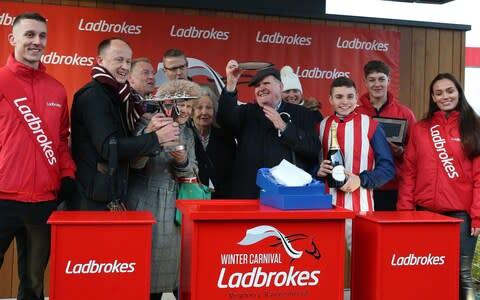 <span>Connections celebrate their victory in the prestigious handicap chase</span> <span>Credit: PA </span>