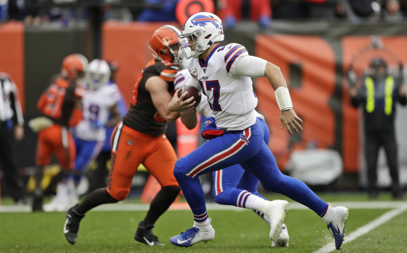 Buffalo Bills quarterback Josh Allen (17) scores a 10-yard touchdown during the first half of an NFL football game against the Cleveland Browns, Sunday, Nov. 10, 2019, in Cleveland. (AP Photo/Ron Schwane)