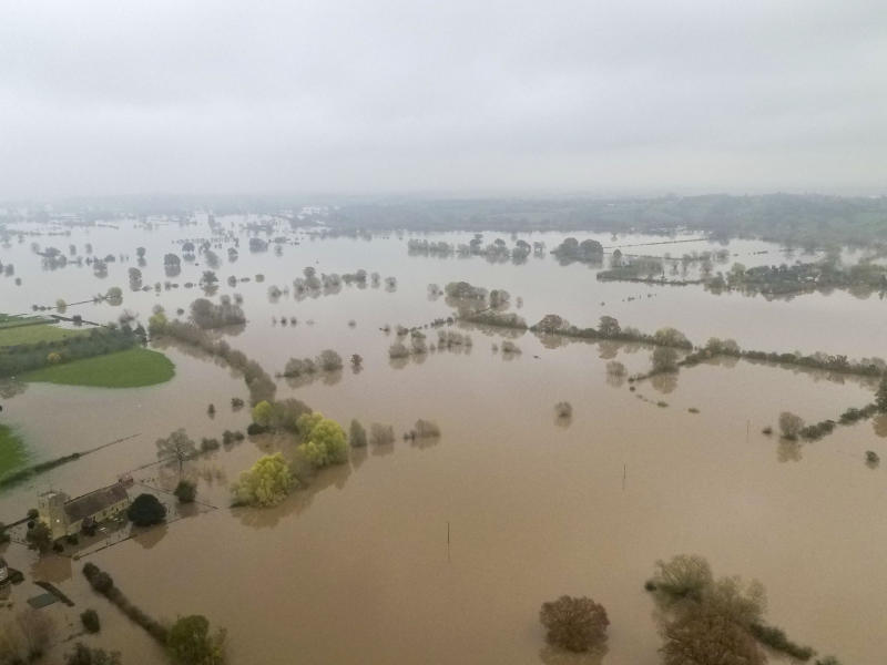 The flooded A4213 in Tirley near Tewkesbury. (Photo by Steve Parsons/PA Images via Getty Images)