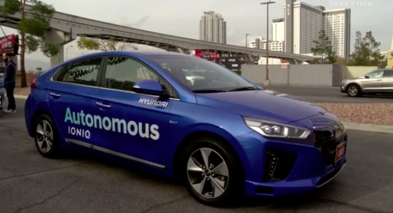 Hyundai's Ioniq self-driving car. Photo: Yahoo Video