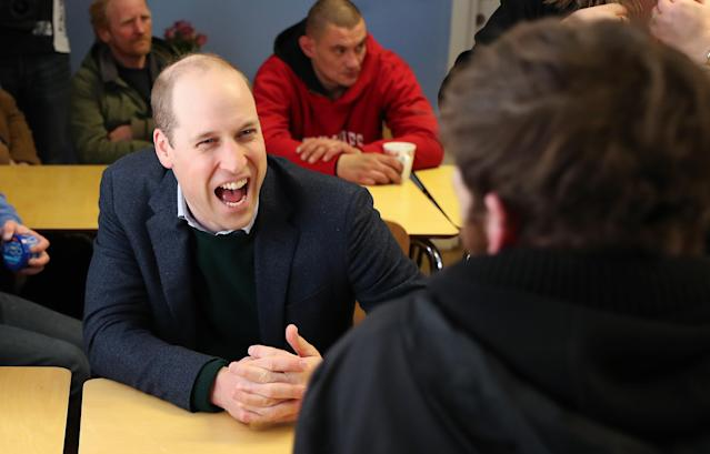 The Duke of Cambridge jokes with one of those helped by the project. (Press Association)