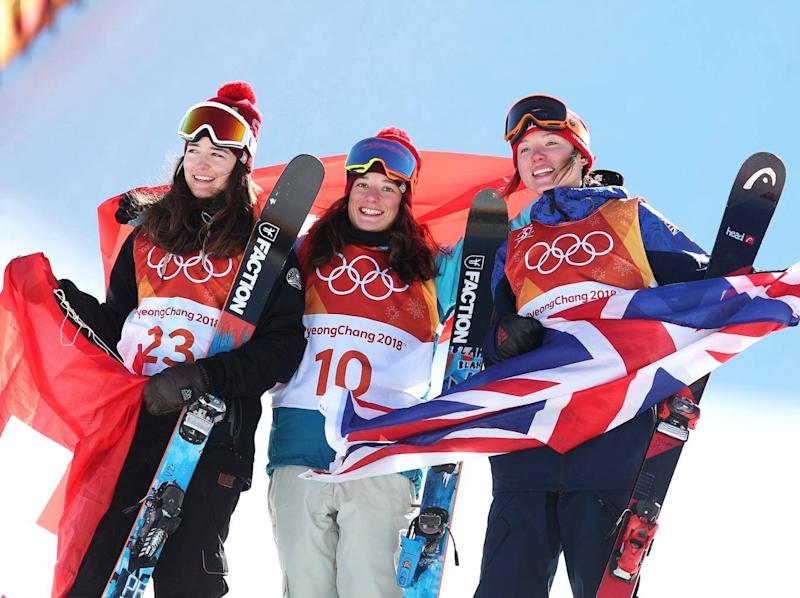 Atkin on the podium with Mathilde Gremaud and Sarah Hoefflin (Getty)