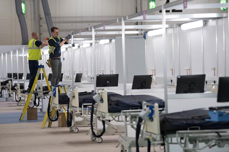 Work continues at the ExCel centre in London which is being made into a temporary hospital - the NHS Nightingale hospital, comprising of two wards, each of 2,000 people, to help tackle coronavirus.