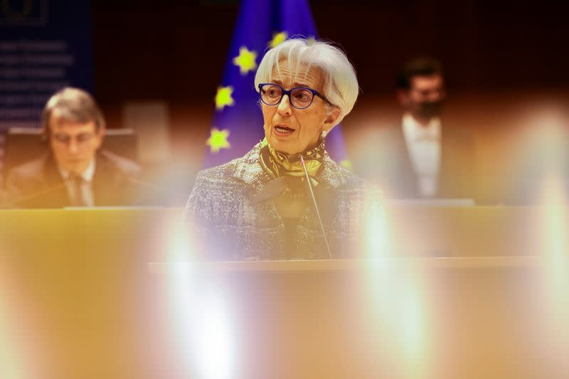 ECB President Lagarde attends a plenary session at the European Parliament in Brussels