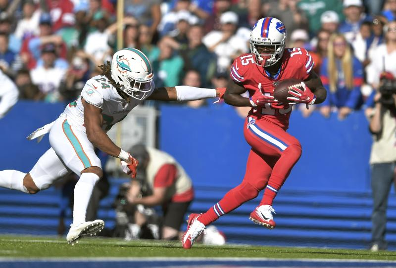 Buffalo Bills wide receiver John Brown, right, catches a pass in front of Miami Dolphins cornerback Ryan Lewis for a touchdown in the second half of an NFL football game, Sunday, Oct. 20, 2019, in Orchard Park, N.Y. (AP Photo/Adrian Kraus)