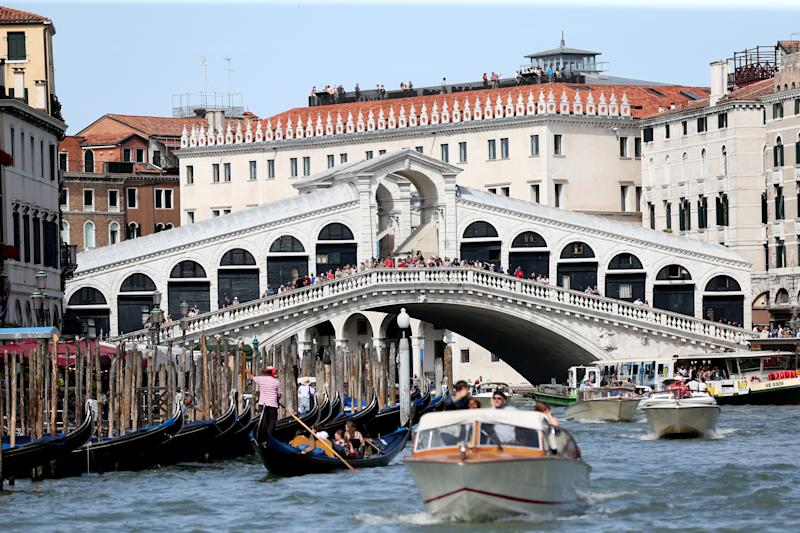 VENICE, ITALY - JUNE 14: A general view of the Rialto Bridge on June 13, 2019 in Venice, Italy. (Photo by Gisela Schober/Getty Images)