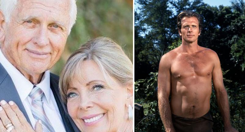 Ron Ely pictured wearing a suit with his wife Valerie Lundeen (left), and Ely topless and tanned during his Tarzan days (right).