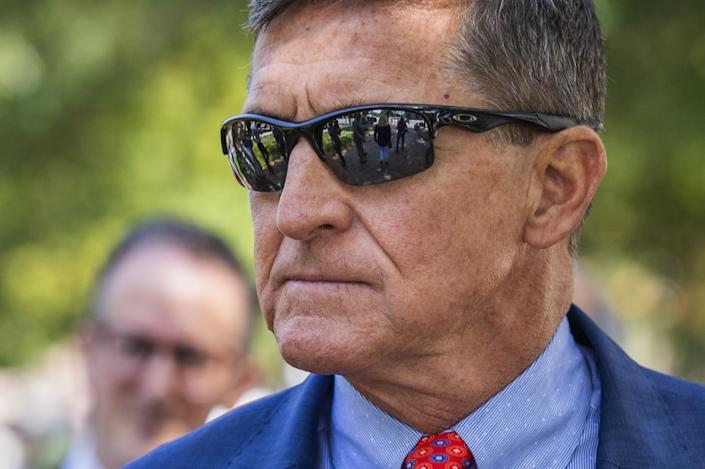 """Michael Flynn, President Trump's former national security advisor, leaves federal court in Washington following a status conference with Judge Emmet Sullivan on Sept. 10, 2019. <span class=""""copyright"""">(Manuel Balce Ceneta / Associated Press)</span>"""