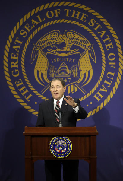 Utah Gov. Gary Herbert makes remarks during a news conference where he discussed Medicaid expansion Thursday, Feb. 27, 2014, in Salt Lake City. Herbert announced he wants to reject a full Medicaid expansion, and instead seek federal dollars to cover the poor. Herbert made the announcement Thursday afternoon, saying the state has an obligation to cover the poor by plugging a hole in the safety net. AP Photo/Rick Bowmer)