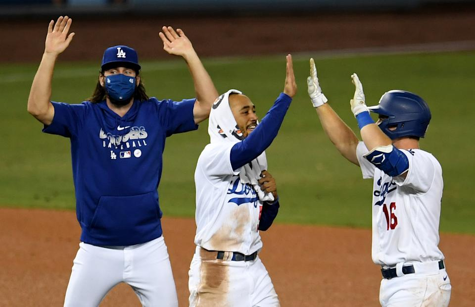 The Dodgers celebrated another walk-off win Thursday. (Photo by Keith Birmingham/MediaNews Group/Pasadena Star-News via Getty Images)