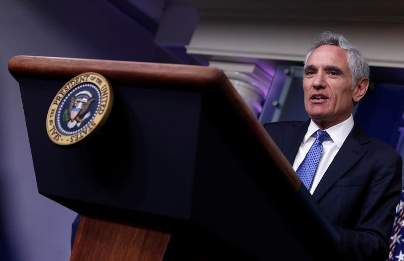 FILE PHOTO: White House pandemic adviser Scott Atlas speaks to reporters during a news conference in the Brady Press Briefing Room at the White House