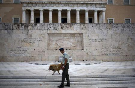 Member of the Greek Presidential guard walks next to a stray dog in front of the parliament building in Athens