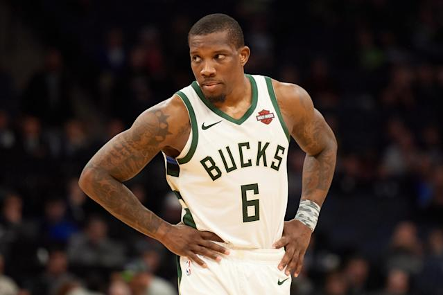 "<a class=""link rapid-noclick-resp"" href=""/nba/players/4749/"" data-ylk=""slk:Eric Bledsoe"">Eric Bledsoe</a>'s big game against the <a class=""link rapid-noclick-resp"" href=""/nba/teams/la-clippers/"" data-ylk=""slk:Clippers"">Clippers</a> included a pair of highlight-worthy bloopers. (Hannah Foslien/Getty)"