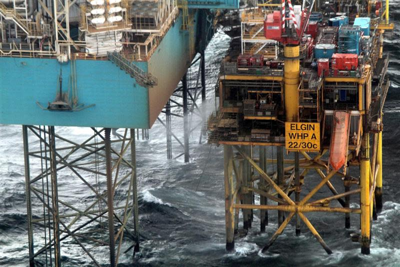 The Elgin platform in the North Sea is seen in this photograph received in London