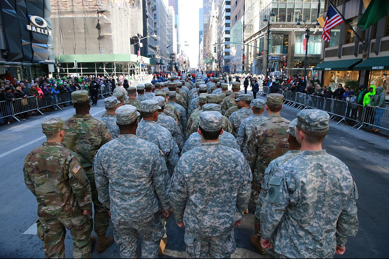 <p>Members of the National Guard march up Fifth Avenue during the St. Patrick's Day Parade, March 17, 2017, in New York. (Gordon Donovan/Yahoo News) </p>
