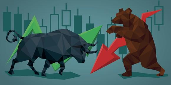 Bull and bear with up and down arrows.