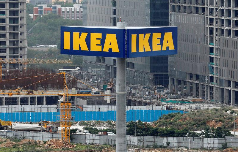 An IKEA sign at the construction site for its store in Hyderabad