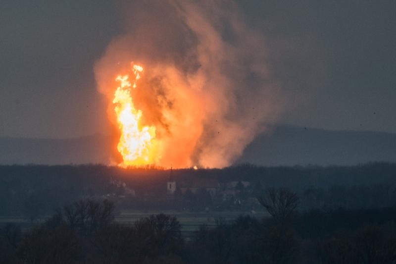 A fire at the Baumgarten facility in eastern Austria after an explosion rocked the site, one of Europe's main gas pipeline hubs (AFP Photo/Tomas HULIK)