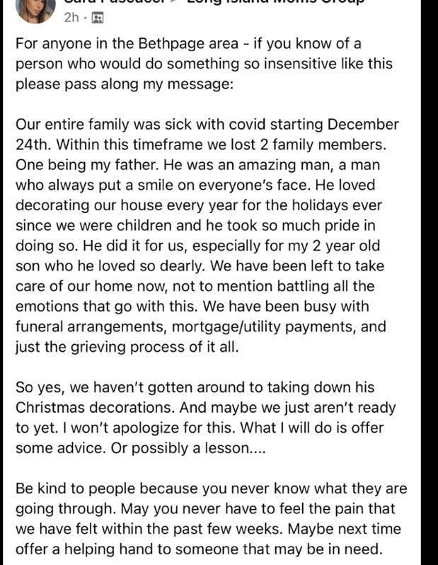Sara Pascucci explained the situation in a Facebook group after receiving the note about the decorations. Source: GoFundMe