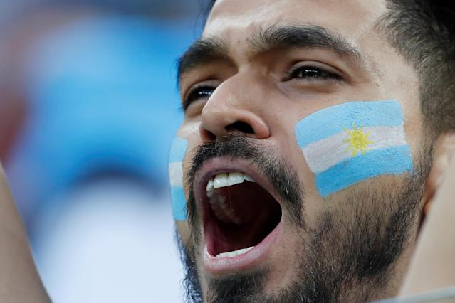 Soccer Football - World Cup - Group D - Argentina vs Croatia - Nizhny Novgorod Stadium, Nizhny Novgorod, Russia - June 21, 2018 Argentina fans before the match REUTERS/Matthew Childs
