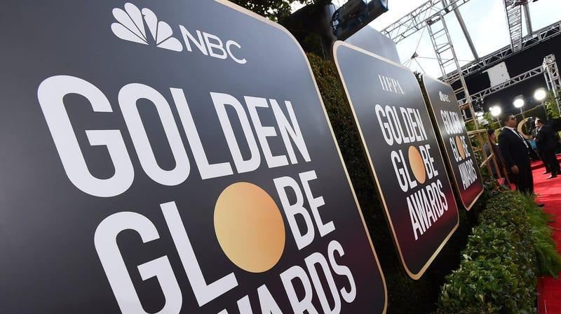 Event signage appears above the red carpet at the 77th annual Golden Globe Awards, Sunday, Jan. 5, 2020.