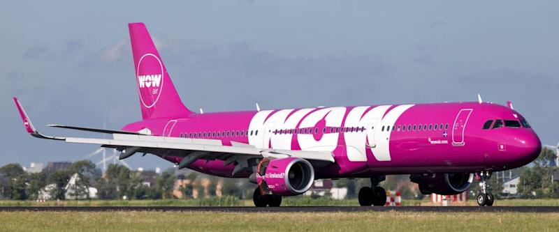 VIJFHUIZEN, THE NETHERLANDS - June 20, 2018: Icelandic WOW Air Airbus A321-200 with registration TF-NOW just landed on runway 18R (Polderbaan) of Amsterdam Airport Schiphol.