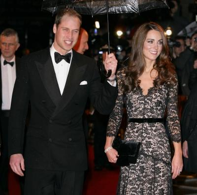 Prince William, Duke of Cambridge and Catherine, Duchess of Cambridge attend the UK premiere of 'War Horse' at Odeon Leicester Square in London on January 8, 2012 -- Getty Premium