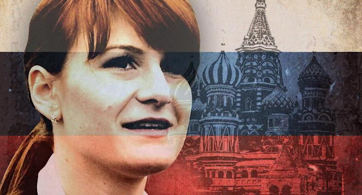 Maria Butina was charged on Monday for acting as an agent of Russia in the U.S. (Photo Illustration: Yahoo News; photos: ITAR-TASS/Zumapress.com, Getty Images (2))