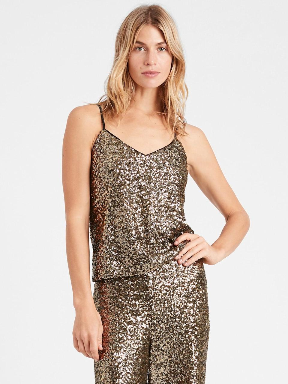 <p>You were always the life of the holiday party! The disco ball on the dance floor that got the party started! Be the disco ball of the virtual party with this <span>Banana Republic Sequin Camisole</span> ($70)!</p>