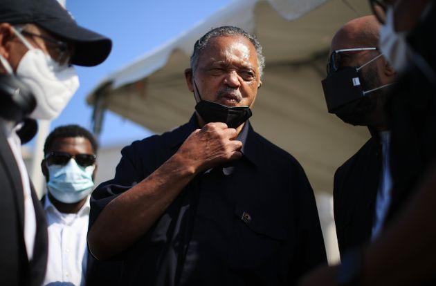 WASHINGTON, DC - AUGUST 02: Civil Rights leader Rev. Jesse Jackson talks with supporters before a Poor People's Campaign march on Capitol Hill to demand an end to the filibuster, stronger voting rights, an end to the filibuster, immigration reform, a $15 minimum wage and other progressive policies at Columbus Circle on August 02, 2021 in Washington, DC. Part of the 'Moral Revival' movement organized by Repairers of the Breach, a non-profit political committee headed by , hundreds of clergy and working poor people marched to the Supreme Court before being arrested outside the Hart Senate Office Building on Capitol Hill. (Photo by Chip Somodevilla/Getty Images) (Photo: Chip Somodevilla via Getty Images)