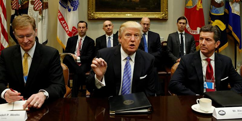 Trump backs CEOs, proposes easing corporate reporting rules