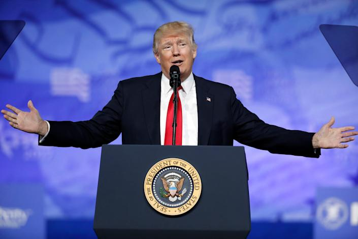In this Feb. 24, 2017, photo, President Donald Trump speaks at the Conservative Political Action Conference (CPAC) in Oxon Hill, Md. [AP Photo/Alex Brandon]
