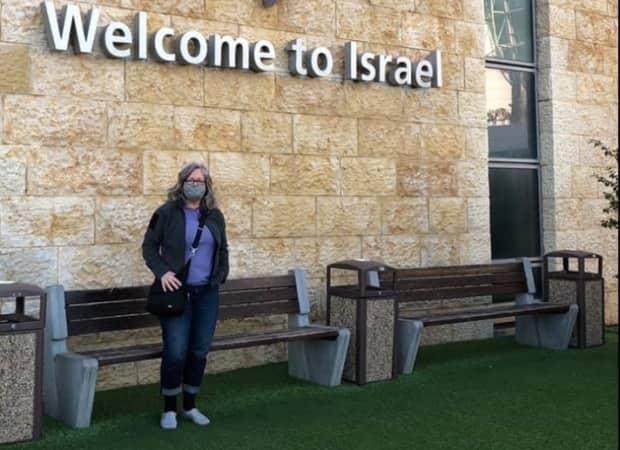 RCMP Sgt. Leanne Butler arrived at Tel Aviv Airport on a special military flight Monday, because the airport is still closed to commercial flights.