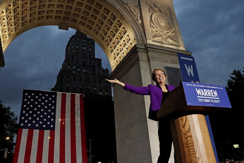 U.S. Senator and democratic presidential candidate Elizabeth Warren speaks at Washington Square Park in New York, N.Y. on Sept. 16, 2019. (Photo: Shannon Stapleton/Reuters)