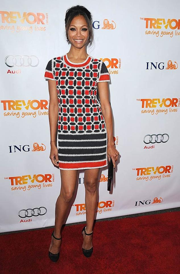 Zoe Saldana showed off her stylish flair when she donned this adorable red-and-white crocheted Rena Lange mini, featuring suede panels, to The Trevor Project's 2011 Trevor Live event in Hollywood. Love it! (12/04/2011)