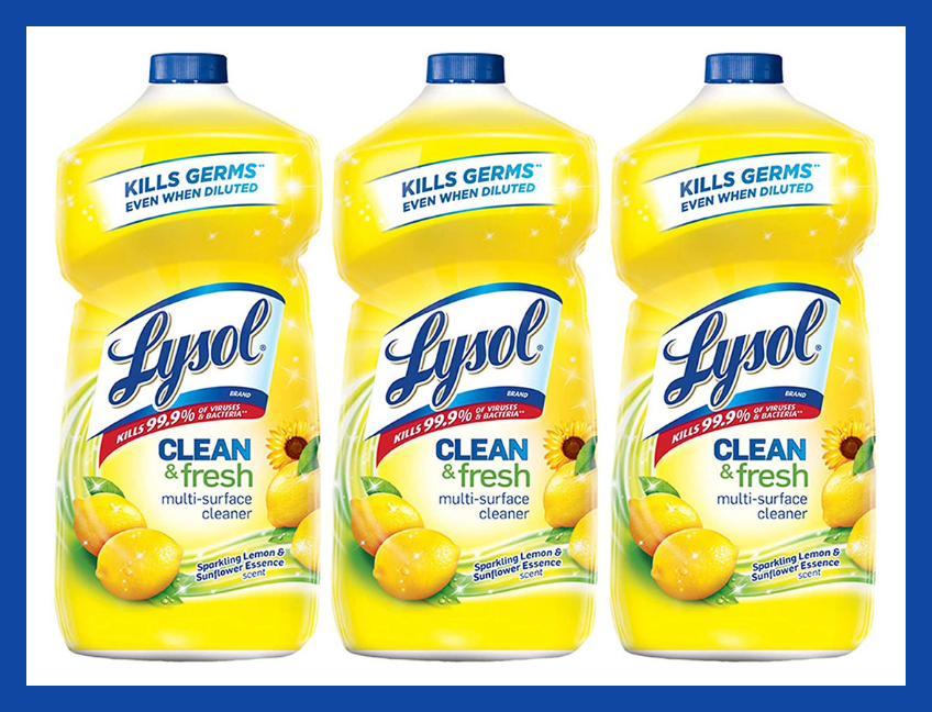 Lysol Clean and Fresh Multi-Surface Cleaner, Lemon and Sunflower, 40-Ounce (three-pack). (Photo: Amazon)