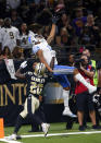 <p>Detroit Lions wide receiver Marvin Jones pulls in a one-handed touchdown reception overNew Orleans Saints cornerback Ken Crawley (20) in the second half of an NFL football game in New Orleans, Sunday, Oct. 15, 2017. (AP Photo/Butch Dill) </p>