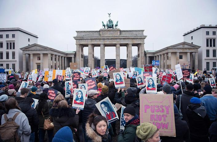 <p>Women attend a protest for women's rights and freedom in solidarity with the Women's March on Washington in front of Brandenburger Tor on January 21, 2017 in Berlin, Germany. (Photo by Steffi Loos/Getty Images) </p>