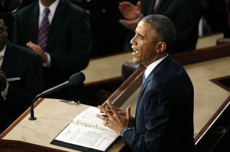 U.S. President Barack Obama delivers his State of the Union address to a joint session of the U.S. Congress on Capitol Hill in Washington