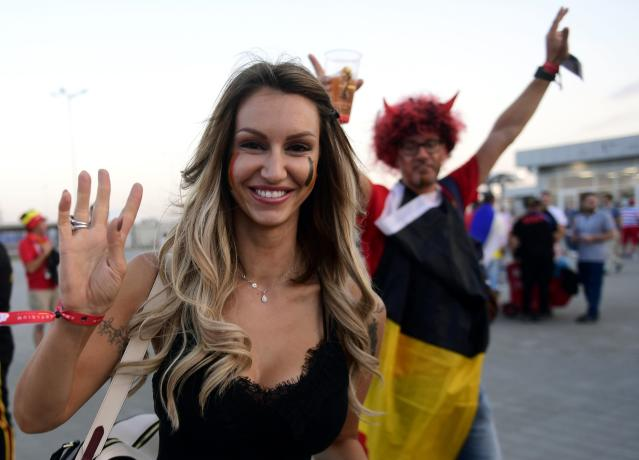 <p>Rafaella Szabo wife of Axel Witsel of Belgium during the FIFA 2018 World Cup Russia Round of 16 match between Belgium and Japan at the Rostov Arena stadium on July 02, 2018 in Rostov-On-Don, Russia, 02/07/2018 ( Photo by Peter De Voecht / Photonews<br> via Getty Images) </p>