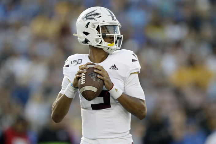 Arizona State QB Jayden Daniels could get back on track after a season disrupted by COVID. (AP Photo/Marcio Jose Sanchez)