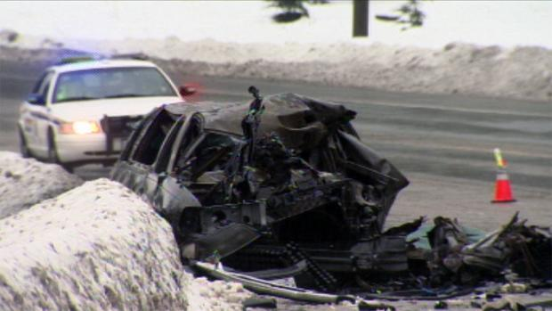 The body of the 54-year-old limousine driver was not removed from the burned wreckage until the day following the Jan. 28 collision. (CBC)