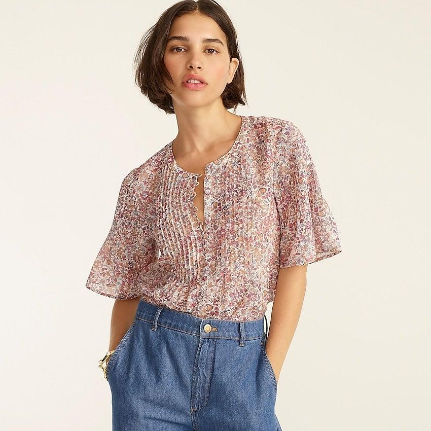 """<br><br><strong>J. Crew</strong> Silk cotton voile pintuck top in blooming floral, $, available at <a href=""""https://go.skimresources.com/?id=30283X879131&url=https%3A%2F%2Fwww.jcrew.com%2Fp%2Fwomens%2Fcategories%2Fclothing%2Fshirts-and-tops%2Fsilk-cotton-voile-pintuck-top-in-blooming-floral%2FBB267"""" rel=""""nofollow noopener"""" target=""""_blank"""" data-ylk=""""slk:J. Crew"""" class=""""link rapid-noclick-resp"""">J. Crew</a>"""