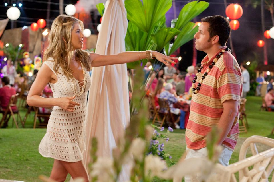 JUST GO WITH IT, l-r: Jennifer Aniston, Adam Sandler, 2011, ph: Tracy Bennett/©Columbia Pictures/courtesy Everett Collection
