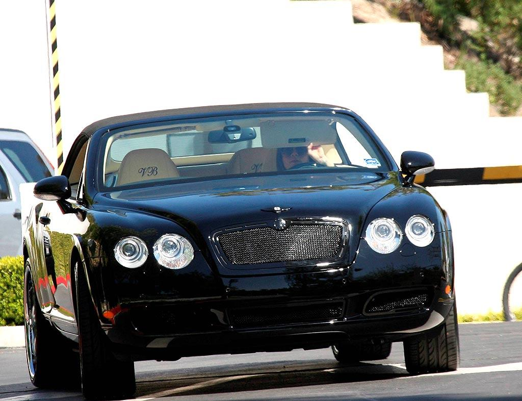 "David's lady love Victoria cruises around Beverly Hills in a Bentley with monogrammed head rests. The sticker price on a 2008 Bentley Continental GT Coupe is $175,990. JM/<a href=""http://www.x17online.com"" target=""new"">X17 Online</a> - March 18, 2008"