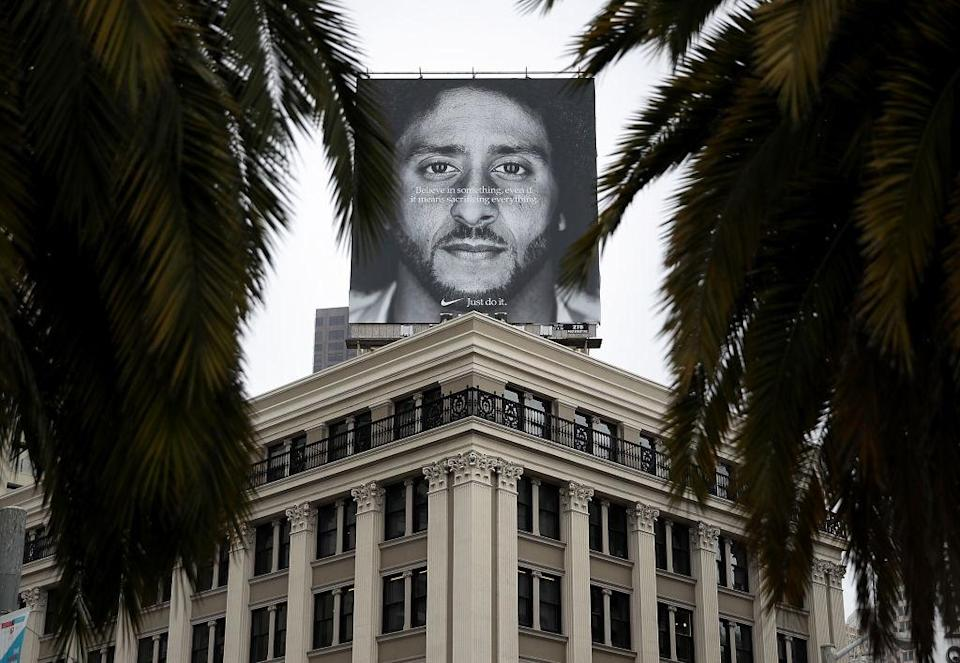 A billboard featuring former NFL quarterback Colin Kaepernick on the roof of the Nike Store in San Francisco, Calif., on Sept. 5, 2018. (Photo by Justin Sullivan/Getty Images