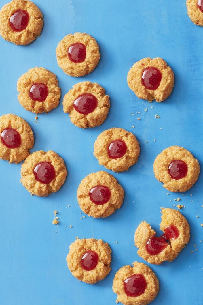 """<p>These <a href=""""https://www.womansday.com/food-recipes/cooking-tips/g3045/no-bake-cookies/"""" rel=""""nofollow noopener"""" target=""""_blank"""" data-ylk=""""slk:dainty little cookies"""" class=""""link rapid-noclick-resp"""">dainty little cookies</a> are made with jam, cheddar cheese, and chopped pimientos for a result that's surprisingly delicious. </p><p><a href=""""https://www.womansday.com/food-recipes/food-drinks/a19810356/pimiento-cheese-tea-cookies-recipe/"""" rel=""""nofollow noopener"""" target=""""_blank"""" data-ylk=""""slk:Get the recipe for Pimiento Cheese Thumbprint Cookies."""" class=""""link rapid-noclick-resp""""><u><em>Get the recipe for Pimiento Cheese Thumbprint Cookies.</em></u></a></p>"""